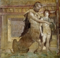 """-Quadro con Achille e Chirone dalla c.d. """"Basilica"""" di Ercolano Museo Archeologico Nazionale di Napoli"""
